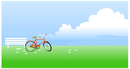 This illustration is a common natural landscape. Bicycle propped near the bench Vector