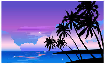 This illustration is a common natural landscape. Beach at night Vector