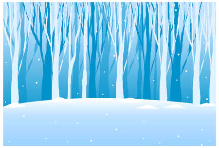 this illustration is the general nature of the winter landscape. Close-up of tree woods in winter Stock Vector - 15880127