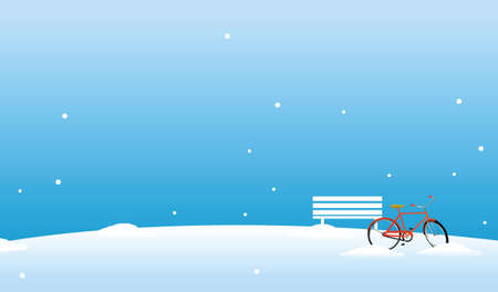 this illustration is the general nature of the winter landscape. bicycle and bench in the snow Stock Vector - 15879683