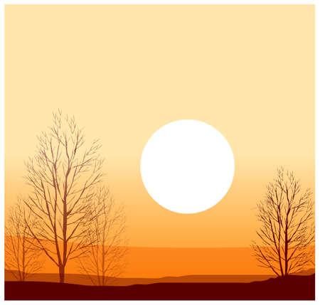 kale: Deze illustratie is een gemeenschappelijke natuurlijke landschap. Winter zonsondergang Stock Illustratie