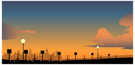 this illustration is the general nature of the winter landscape. City Skyline with street light at night Stock Vector - 15879757