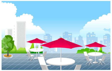 This illustration is a common cityscape. Caf� in front of city skyline Vector