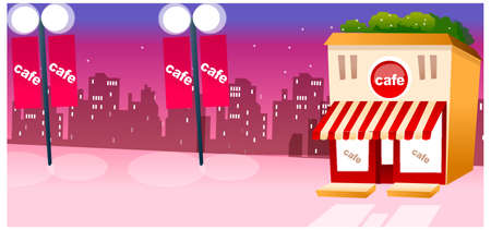 This illustration is a common cityscape. Cafe Exterior against city skyline Vector