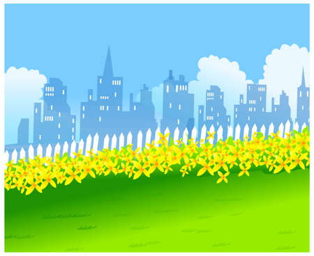 This illustration is a common cityscape. Skyline and Green Landscape with yellow Flowers Stock Vector - 15880417