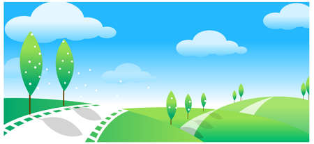 This illustration is a common natural landscape. Green landscape with road Stock Vector - 15879694