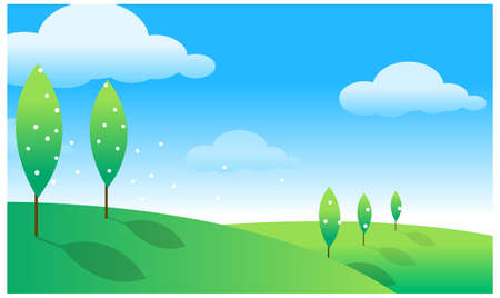 This illustration is a common natural landscape. Green landscape  Stock Vector - 15879684