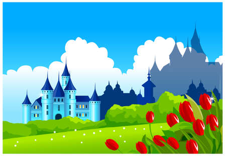 This illustration is a common natural landscape. Fantasy castle on green landscape Vector