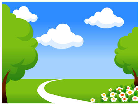 curved path: This illustration is a common natural landscape. Green landscape