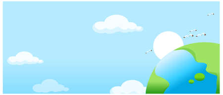 This illustration is a common natural landscape. Globe on sky background  Vector