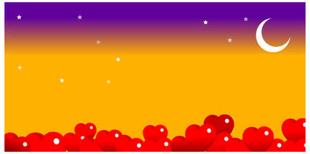 This illustration is a common cityscape. bright moon in the night sky with heart shape balloons Vector