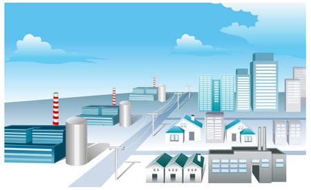 This illustration is a common cityscape. Industrial Area Stock Vector - 15881385