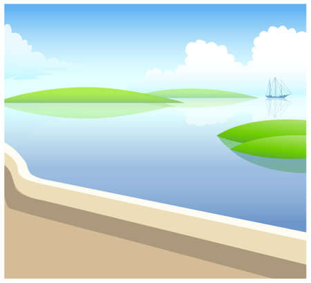 This illustration is a common natural landscape. sailing boat in water Stock Vector - 15879958