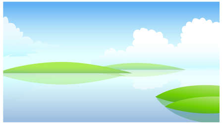 This illustration is a common natural landscape. Water landscape Stock Vector - 15879748