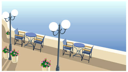This illustration is a common cityscape. Street Cafe at the sea Vector