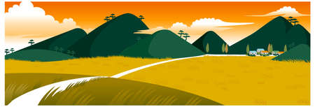 This illustration is a common natural landscape. Rural scene Stock Vector - 15879743