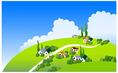 curved path: This illustration is a common natural landscape. country side illustration  Illustration