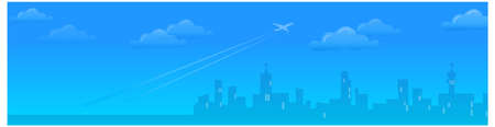 This illustration is a common natural landscape. Cityskyline with Plane departing  Stock Vector - 15879621