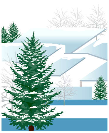 this illustration is the general nature of the winter landscape. Green fur Tree Vector