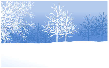 this illustration is the general nature of the winter landscape. snowy winter landscape with tree Stock Vector - 15901154