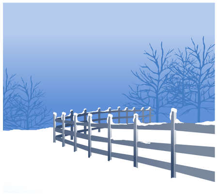 this illustration is the general nature of the winter landscape. snowy winter landscape with tree and fence Vector