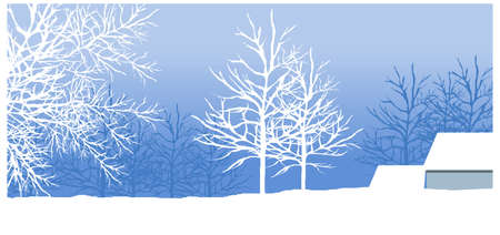 creative arts: this illustration is the general nature of the winter landscape. snowy winter landscape with tree Illustration