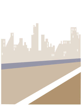 This illustration is a common cityscape. Road and City skyline Stock Vector - 15879911