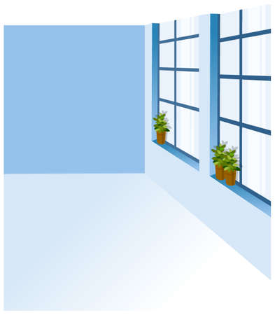 this illustration is the interior landscape. A potted plant on a window sill Vector