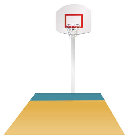 This illustration is a common cityscape. Basketball area Vector