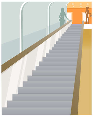 This illustration is a common cityscape. Escalator vision Vector