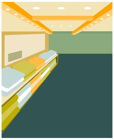this illustration is the interior landscape. Modern design interior of shop Vector