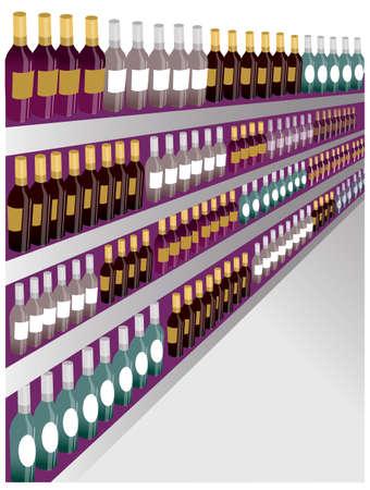 estanterias: esta ilustraci�n es el paisaje interior. Primer tirado de botellas estante del vino.