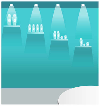 this illustration is the interior landscape. bottle display stand  Vector