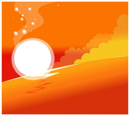 This illustration is a common natural landscape. Sunset  Stock Vector - 15881441