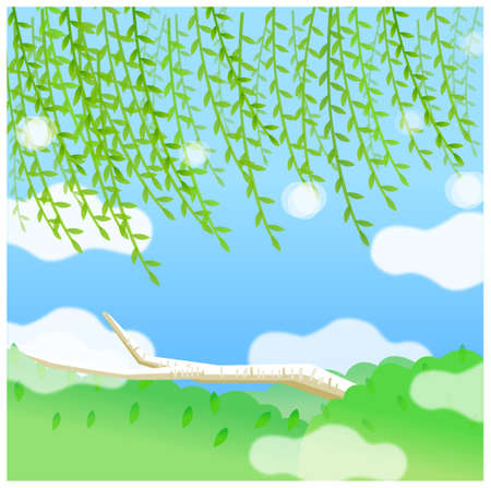 This illustration is a common natural landscape. Green landscape with blue sky Stock Vector - 15901097