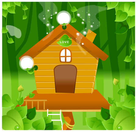 This illustration is a common natural landscape. Tree House Stock Vector - 15900987