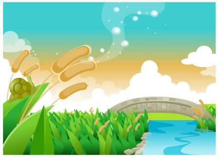 This illustration is a common natural landscape. Foot bridge over river Stock Vector - 15901310