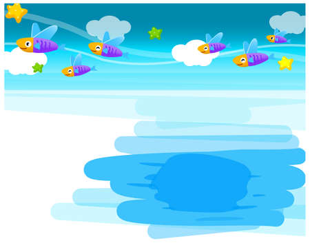 This illustration is a common natural landscape. Fish Underwater Stock Vector - 15879835