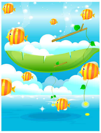 This illustration is a common natural landscape. Fish out of water and blue sky Stock Vector - 15901153