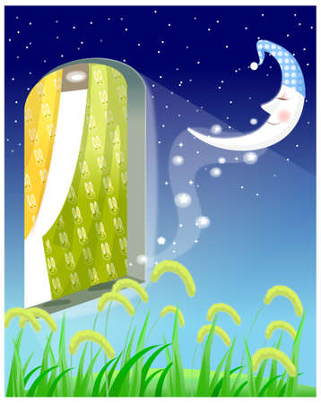 This illustration is a common natural landscape. Opened window at night Stock Vector - 15901643