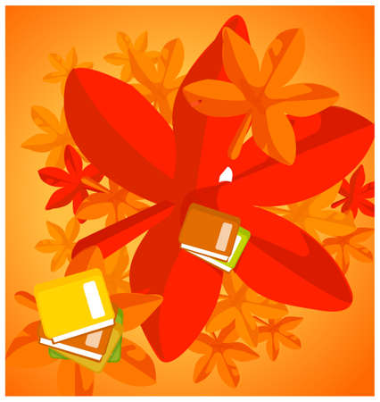 This illustration is a common natural landscape. Autumn Leaves and books Vector