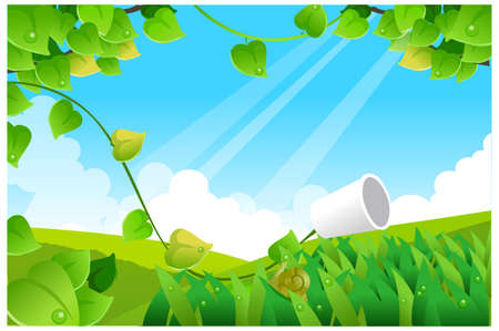 This illustration is a common natural landscape. Green landscape with blue sky Stock Vector - 15881201