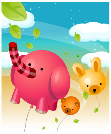 This illustration is a common natural landscape. Animal shape balloons in air Stock Vector - 15880356