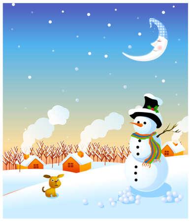 coberto de neve: Esta ilustra��o � a natureza geral da paisagem de inverno. boneco de neve e paisagem de inverno Ilustra��o