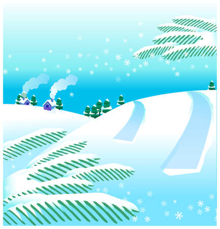this illustration is the general nature of the winter landscape. winter landscape Stock Vector - 15881185