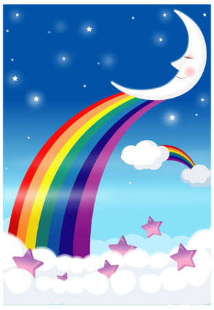 This illustration depicts a young child's dream world. Rainbow with blue sky Stock Vector - 15901023