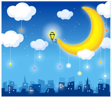 This illustration depicts a young childs dream world. moon and skyline Vector
