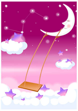 This illustration depicts a young child's dream world. moon and swing in sky Stock Vector - 15900939