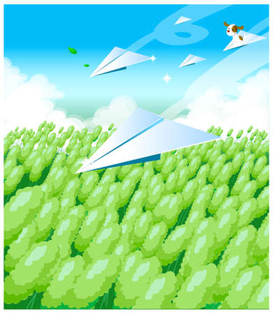This illustration depicts a young child's dream world. Paper airplanes over a field Stock Vector - 15881659