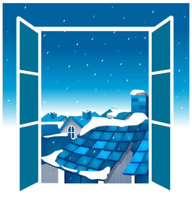 this illustration is the general nature of the winter landscape. Open window with blue sky and roof Stock Vector - 15880419